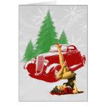Coche de carreras y Pin encima del navidad Felicitacion