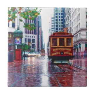 Coche de carretilla de San Francisco por el mac de Azulejo Cuadrado Pequeño