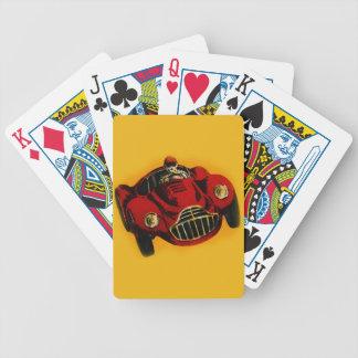 Coche de competición auto viejo amarillo rojo cartas de juego