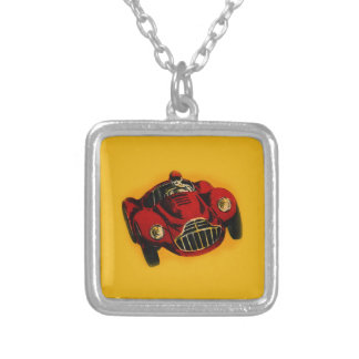 Coche de competición auto viejo amarillo rojo colgante cuadrado
