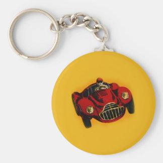 Coche de competición auto viejo amarillo rojo llavero personalizado