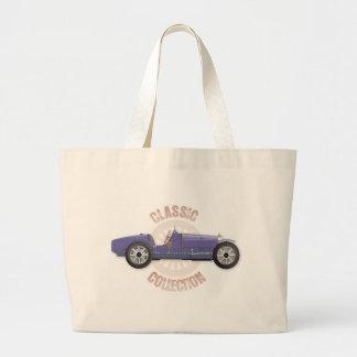 Coche de competición azul viejo del vintage usado  bolsas de mano