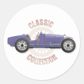 Coche de competición azul viejo del vintage usado pegatina redonda