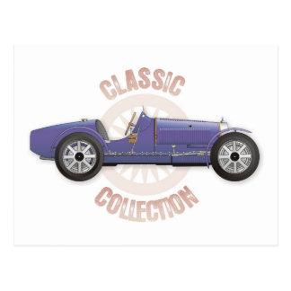 Coche de competición azul viejo del vintage usado postales