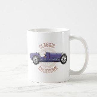 Coche de competición azul viejo del vintage usado taza de café