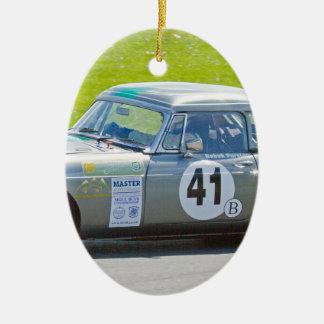 Coche de competición de plata de MG Adorno Navideño Ovalado De Cerámica