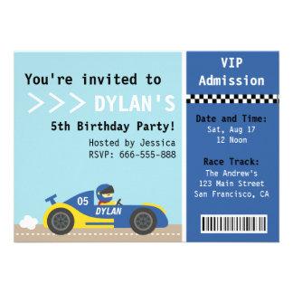 Coche de competición fiesta de cumpleaños boleto comunicado personal