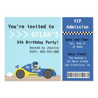 Coche de competición, fiesta de cumpleaños, boleto comunicado personal