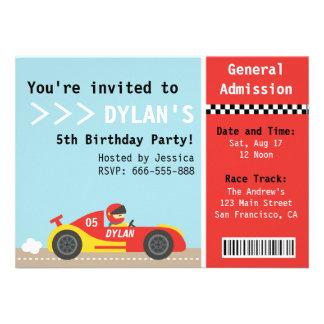 Coche de competición fiesta de cumpleaños boleto invitaciones personalizada
