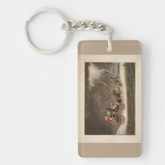 Coche de correo en una tormenta, 1827. llavero rectangular acrílico a una cara