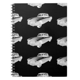 Coche de deportes convertible blanco y negro de MG Libretas