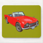Coche de deportes convertible rojo de Triumph Tr4 Tapete De Raton