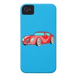 Coche de deportes rojo de lujo del dibujo animado iPhone 4 protectores