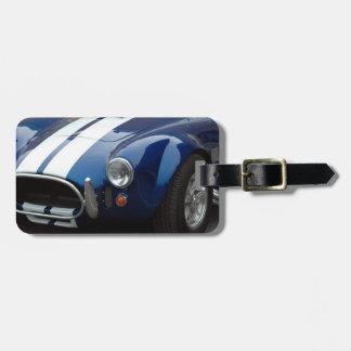 coche de deportes shelby clásico etiqueta de equipaje