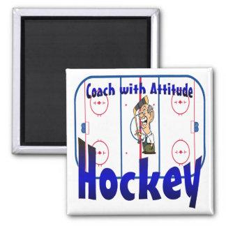 Coche de hockey con actitud imán cuadrado