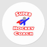 Coche de hockey estupendo etiqueta redonda