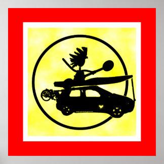 Coche de la bici del kajak - regalos del enfoque posters