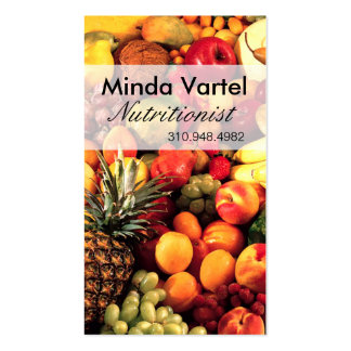 Coche de la comida del nutricionista de la fruta f plantilla de tarjeta personal
