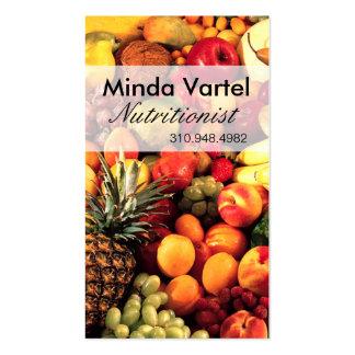 Coche de la comida del nutricionista de la fruta tarjetas de visita