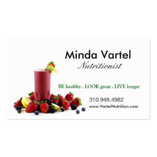 Coche de la comida del nutricionista, salud, tarjetas de visita