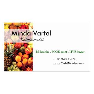 Coche de la comida del nutricionista, sano, tarjetas de visita