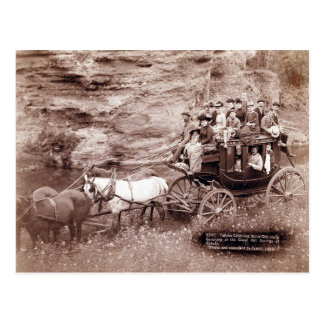 Coche de la etapa del vintage postales