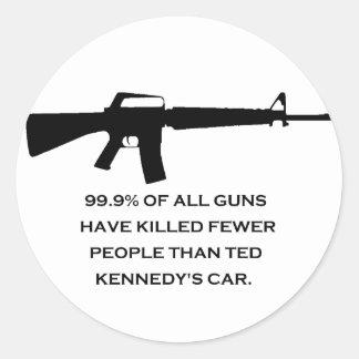 coche de los kennedys del arma etiqueta redonda