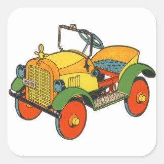 Coche de madera retro del Jalopy del juguete del Pegatina Cuadradas