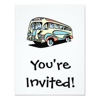 """coche de motor retro del autobús invitación 4.25"""" x 5.5"""""""