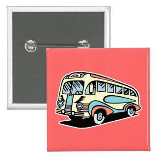 coche de motor retro del autobús pin cuadrado