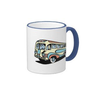 coche de motor retro del autobús tazas de café