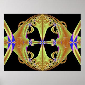 Coche de oro del fractal cabido para una princesa