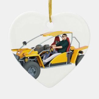 Coche de playa amarillo adorno navideño de cerámica en forma de corazón