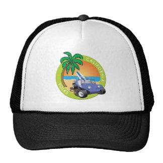 Coche de playa de California Volks con las palmas Gorros