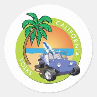 Coche de playa de California Volks con las palmas Pegatina Redonda
