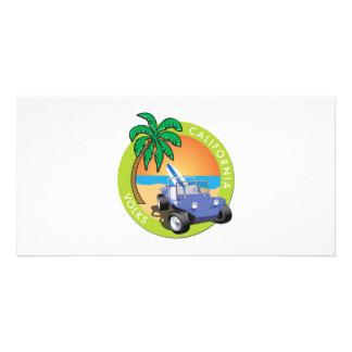 Coche de playa de California Volks con las palmas Tarjetas Fotográficas Personalizadas