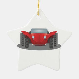 Coche de playa rojo y negro del adorno navideño de cerámica en forma de estrella
