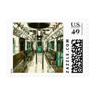 Coche de subterráneo dentro del metal timbre postal