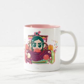 Coche de Vanellope Von Schweetz Driving Taza De Café De Dos Colores