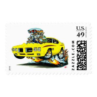 Coche del amarillo del juez de 1970 GTO Estampillas