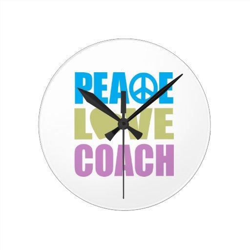 Coche del amor de la paz reloj redondo mediano