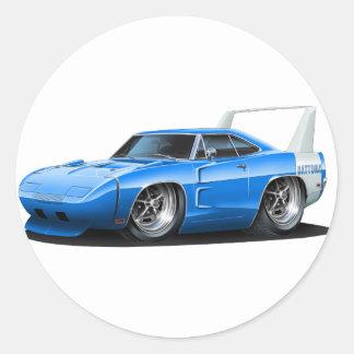 Coche del azul de Dodge Daytona Pegatina Redonda