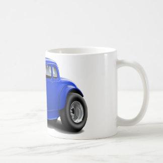 coche del azul del coche de carreras de los años 3 tazas de café