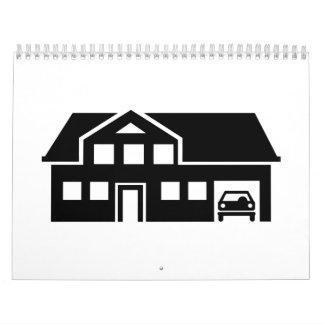 Coche del chalet de la casa calendarios de pared