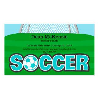 Coche del fútbol/jugador de fútbol (turquesa) tarjetas de visita