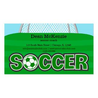 Coche del fútbol/jugador de fútbol (verde) tarjetas de visita