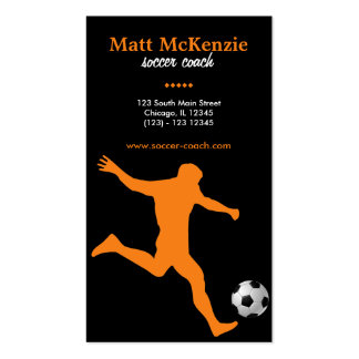 Coche del fútbol (naranja) tarjetas de visita