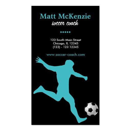Coche del fútbol (turquesa) plantillas de tarjetas de visita