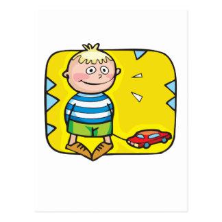 Coche del muchacho y del juguete tarjetas postales