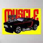 Coche del músculo de 341 dibujos animados póster